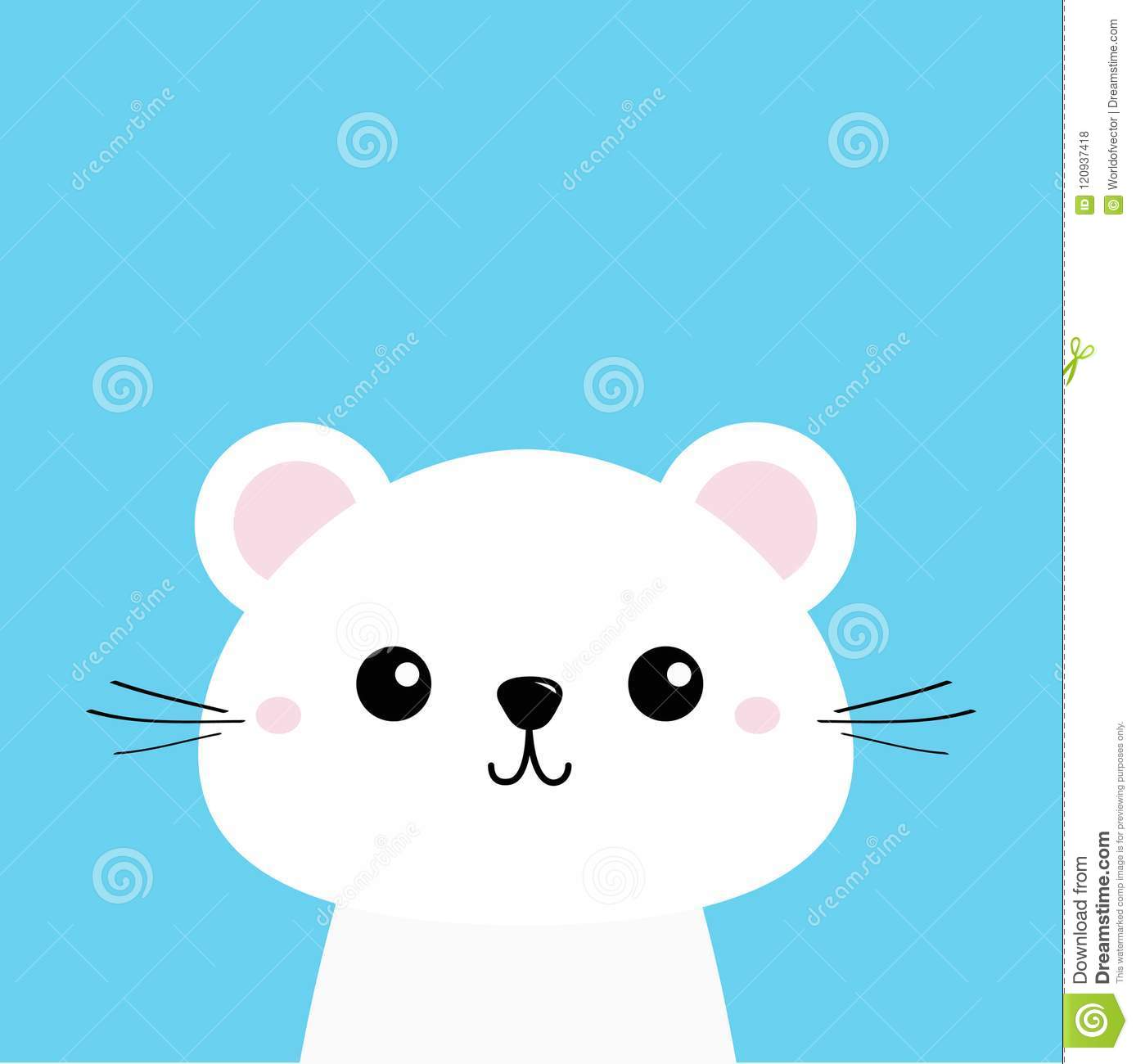 White Animal Cute Kawaii Cartoon Character Funny Head Baby Face Greeting Card Template