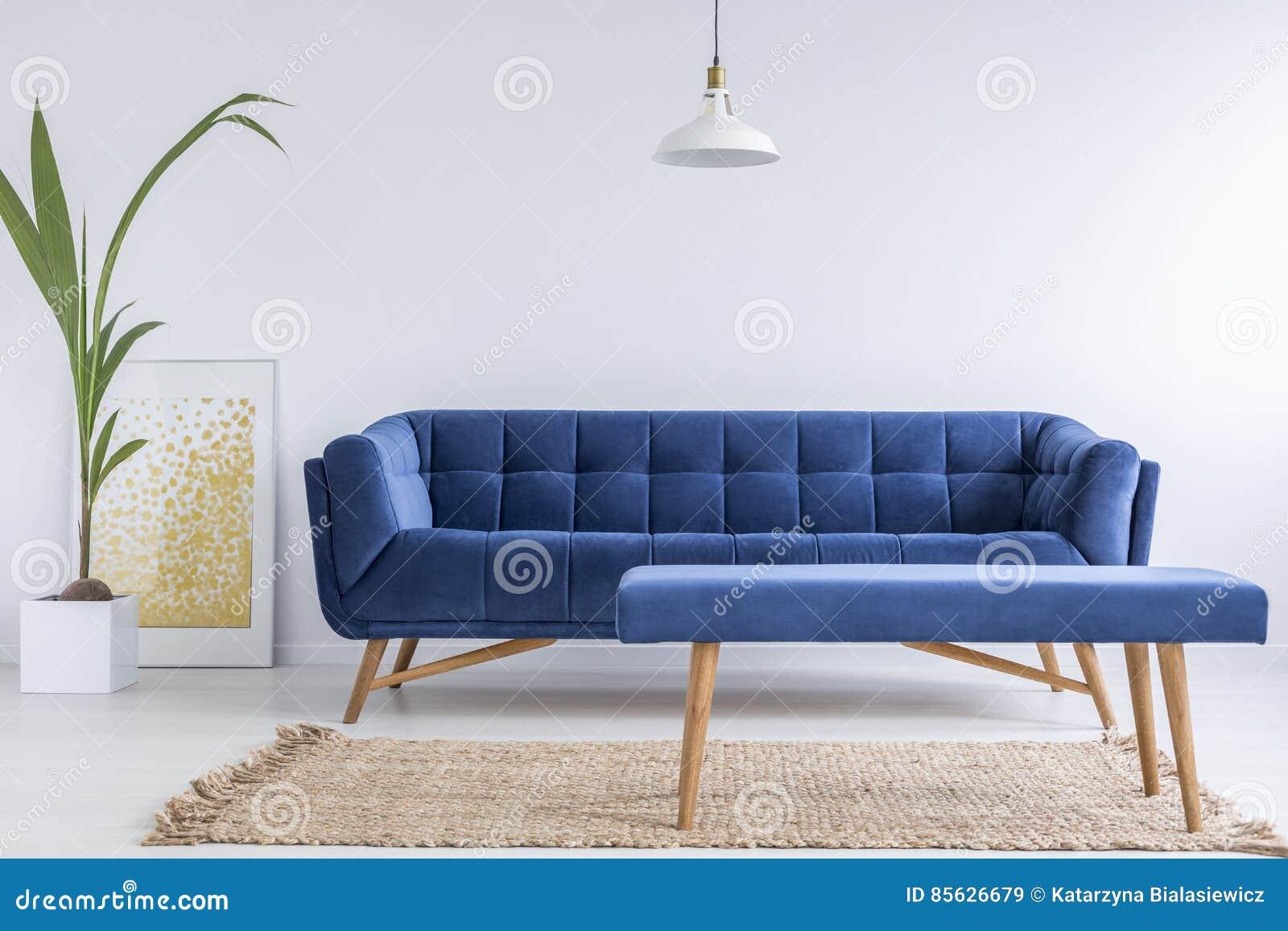 White apartment with blue sofa stock image cartoondealer for Blue and white sofa