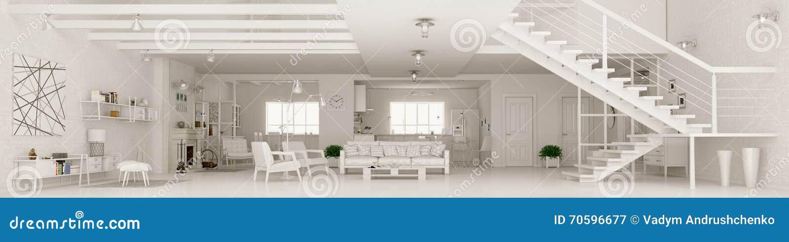 White Apartment Interior Panorama 3d Rendering Stock
