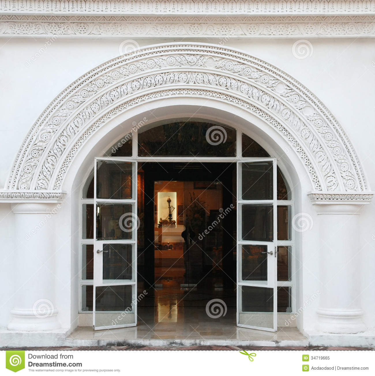 White Arch Classic Door Royalty Free Stock Photo Image