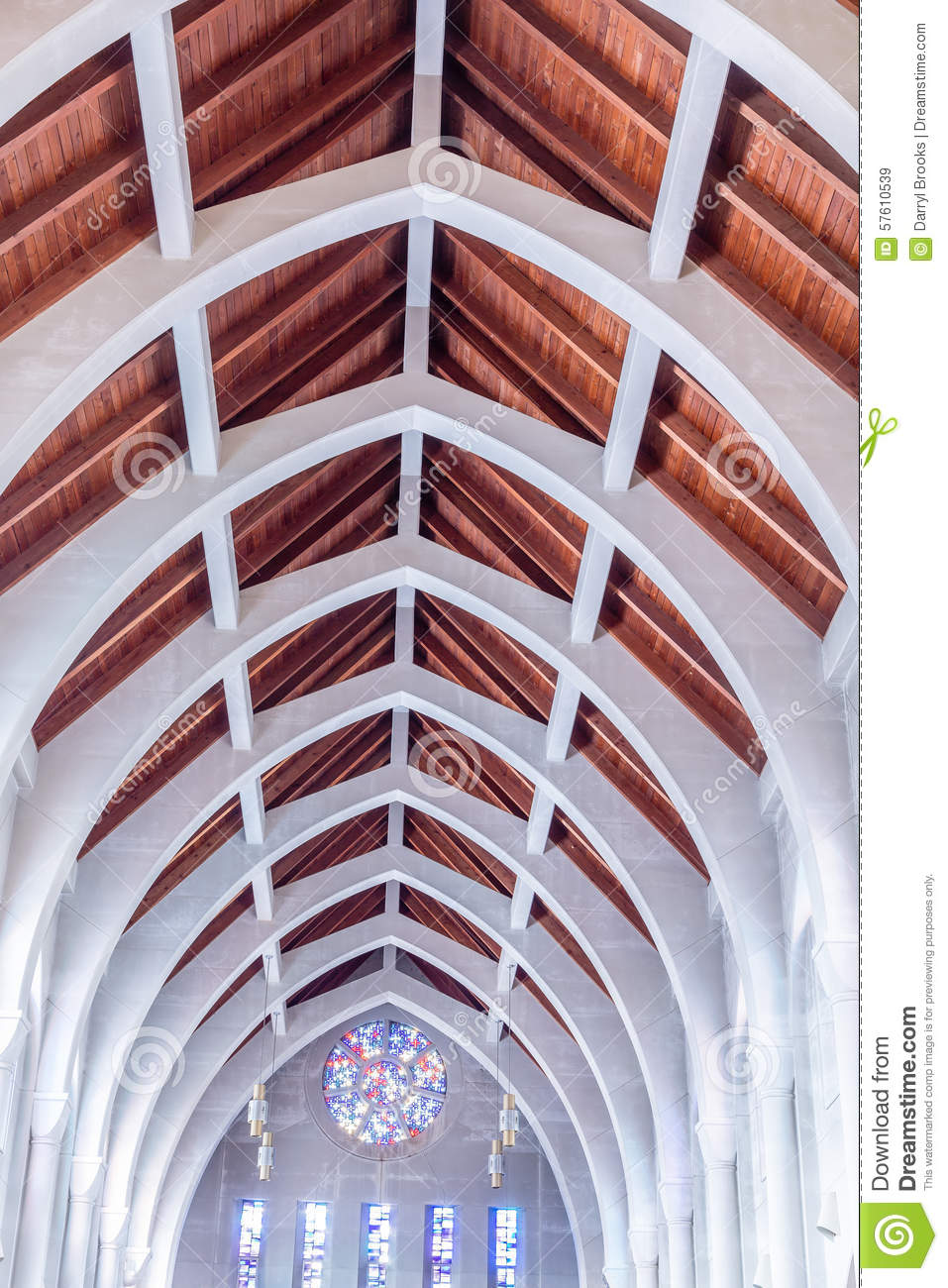 White arches and wood beams stock photo image 57610539 for Arched ceiling beams