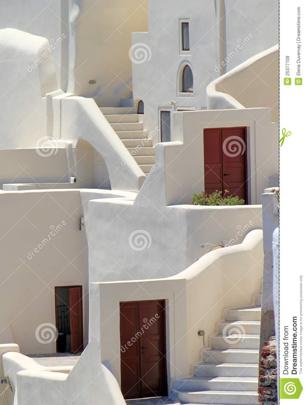 ... with stairs, window and doors at Oia, Santorini, Greece, by sunny day
