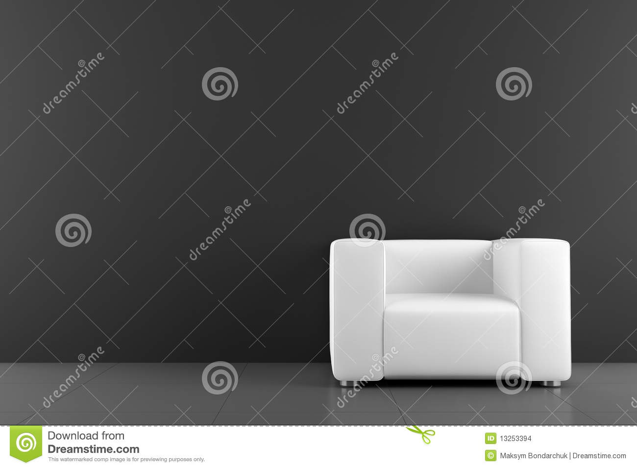 White armchair in front of black wall