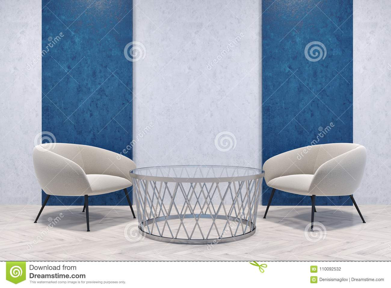 white armchairs in a blue and gray room stock illustration