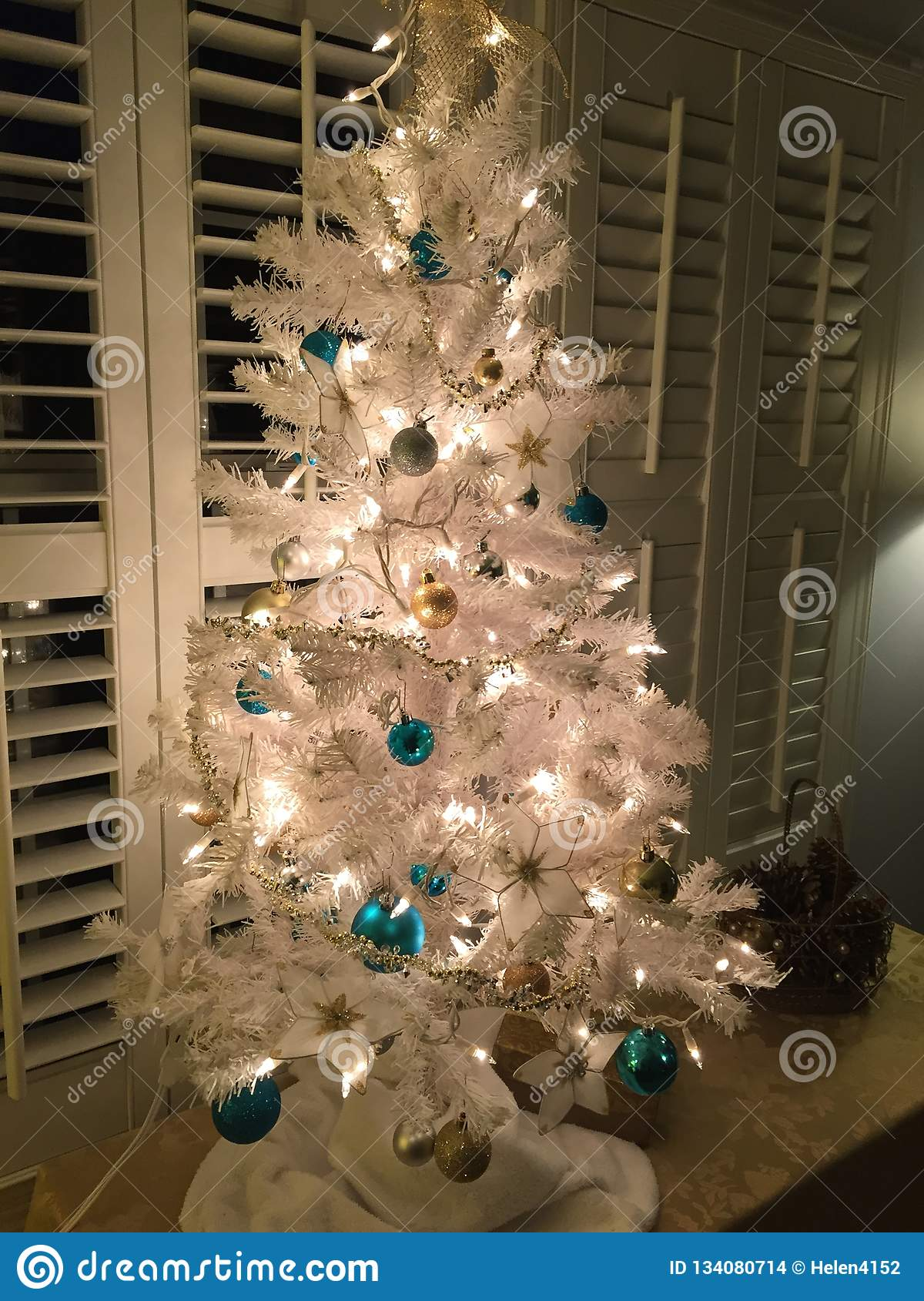 A White Artificial Christmas Tree With Ornaments Stock Photo Image Of Tree White 134080714