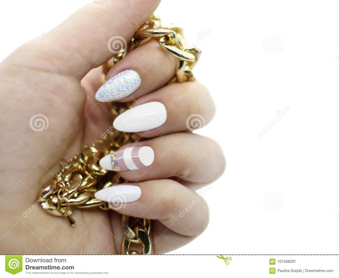 White Artistic Nail Art On Long Nails With Golden Jewellery With