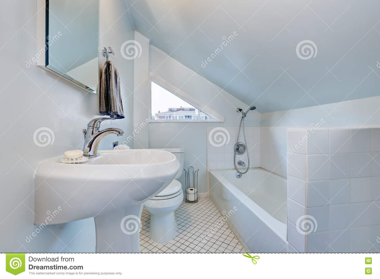 White Attic Bathroom Interior With Vaulted Ceiling Stock