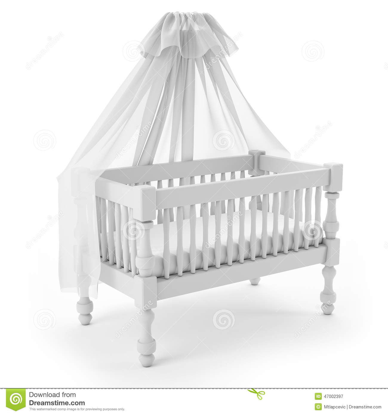 White Baby Crib With Canopy Isolated On Background
