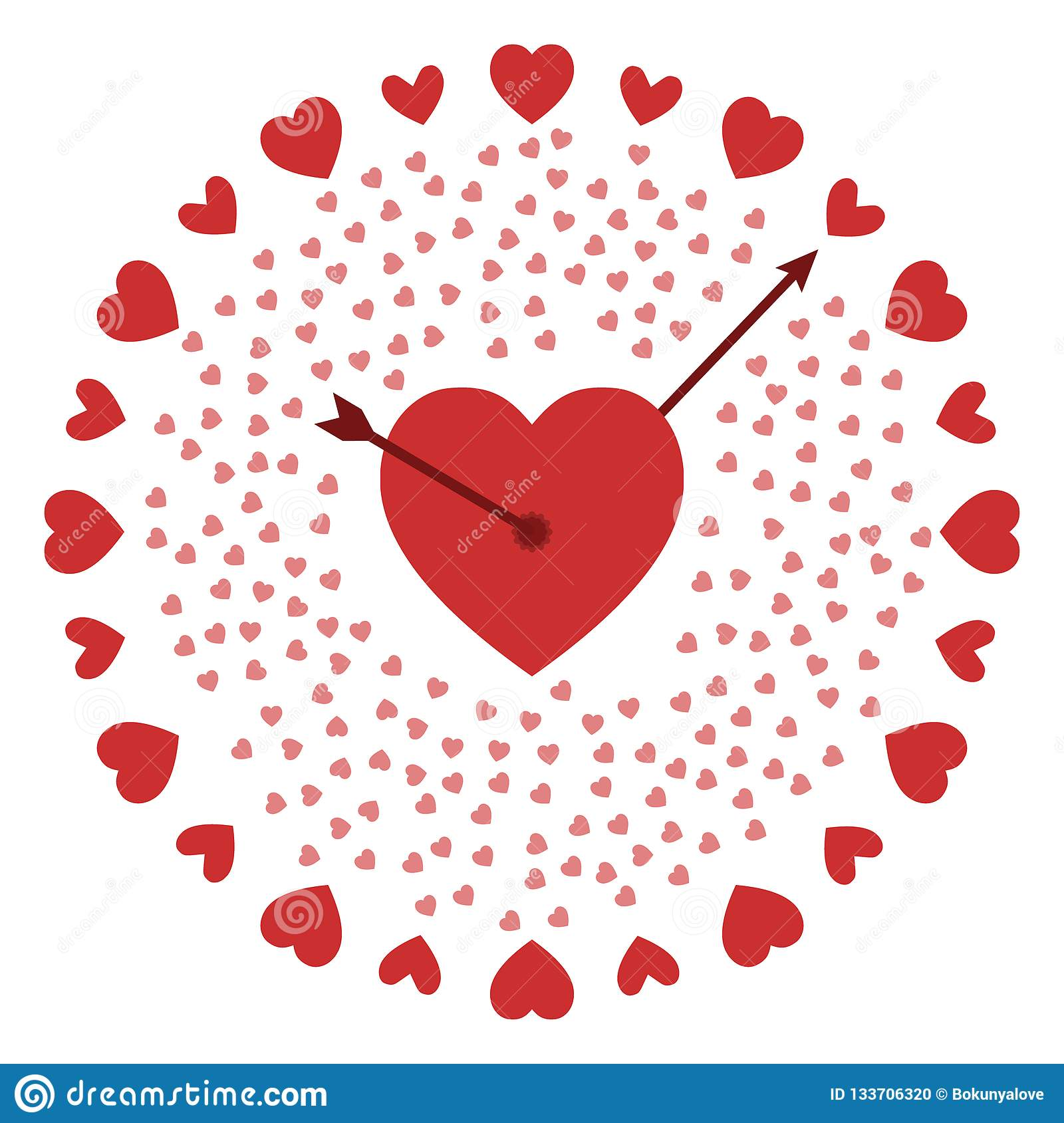 Stylish Watch Hearts For A Gift To A Loved One Stock Vector