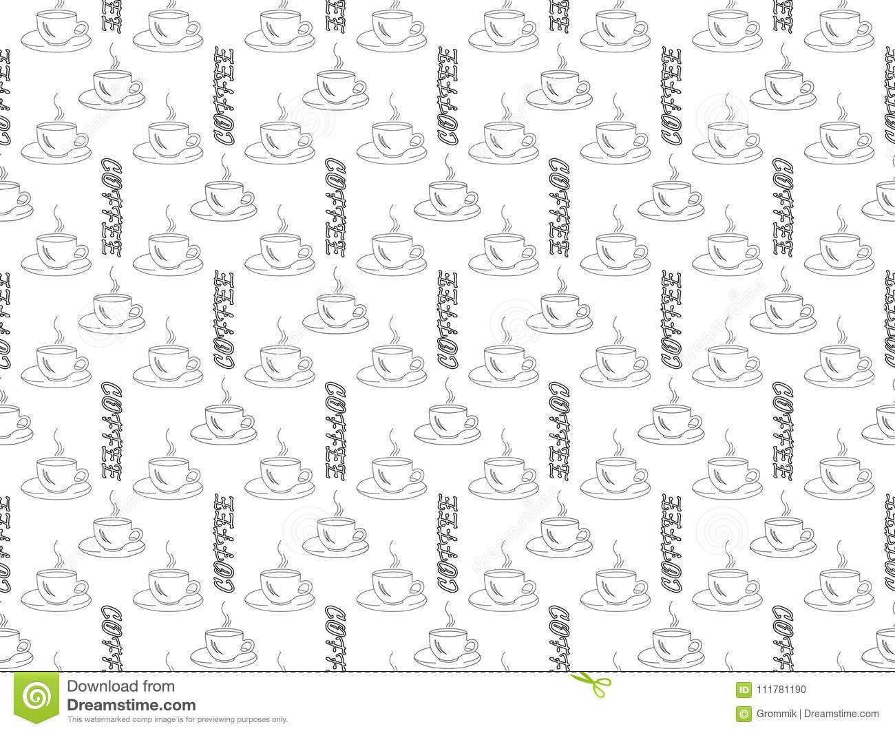 White background black outline of coffee cups and word coffee, s
