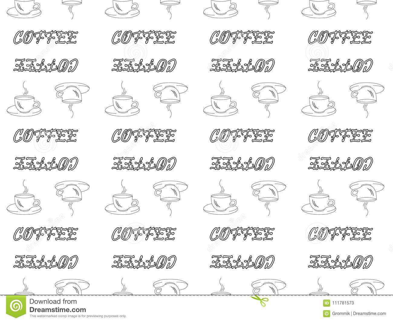 Seamless pattern on white background black outline coffee cups a