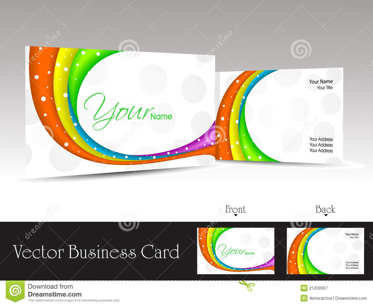 White background business card with colorful waves stock vector white background business card with colorful waves reheart Image collections