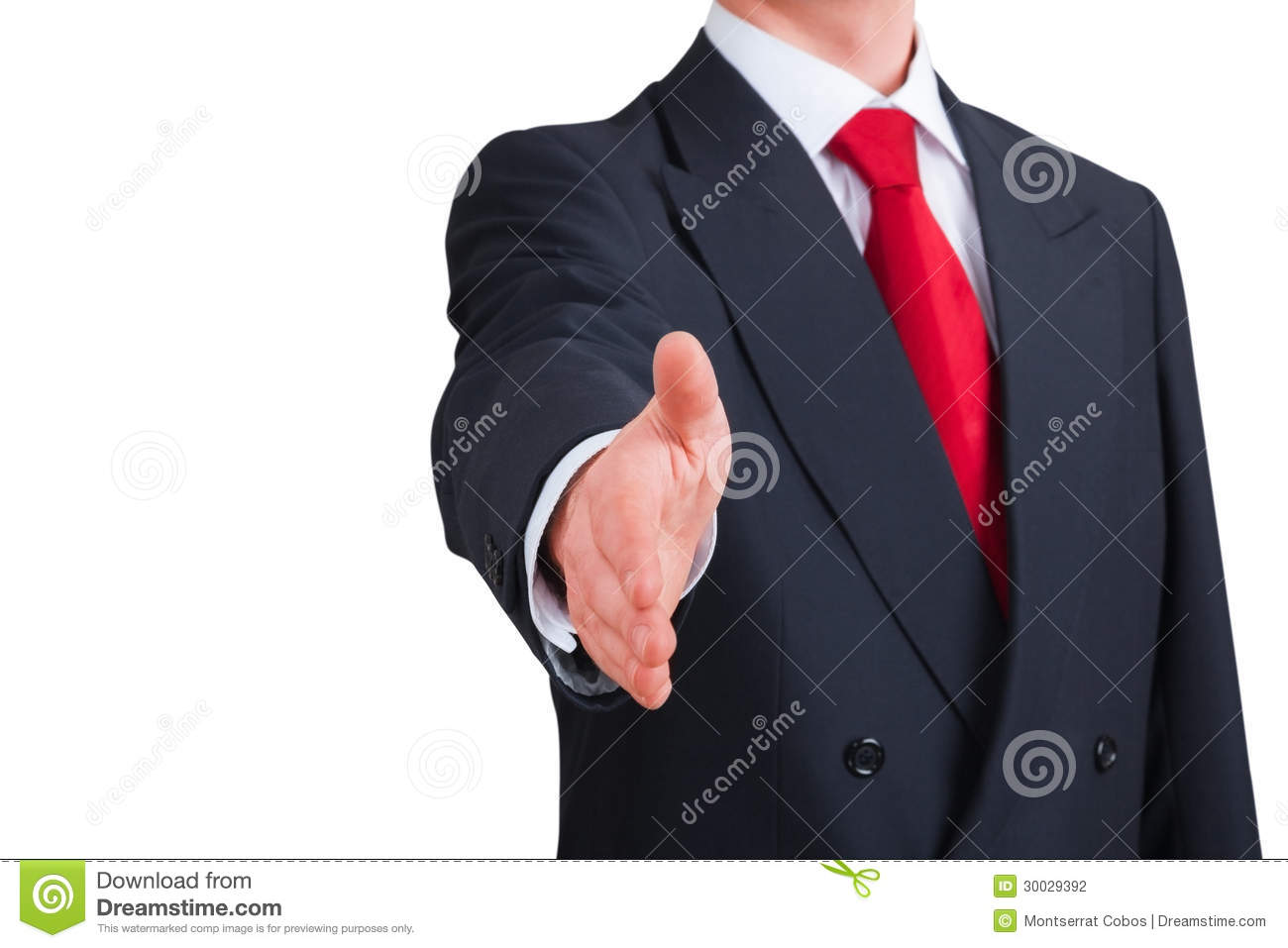 Young businessman offering to shake hands