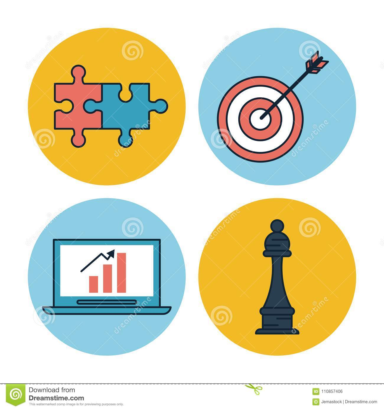 White Background With Colorful Circle Frames Of Corporate Business ...