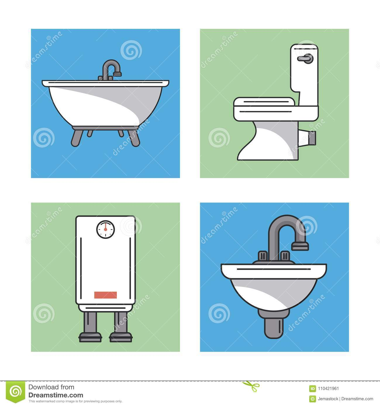 White Background With Frames Of Bathroom Elements As Sinks And Water ...
