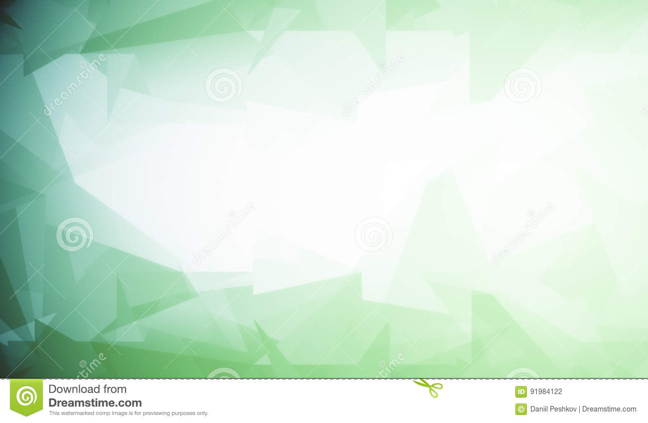 White background with green polygonal pattern