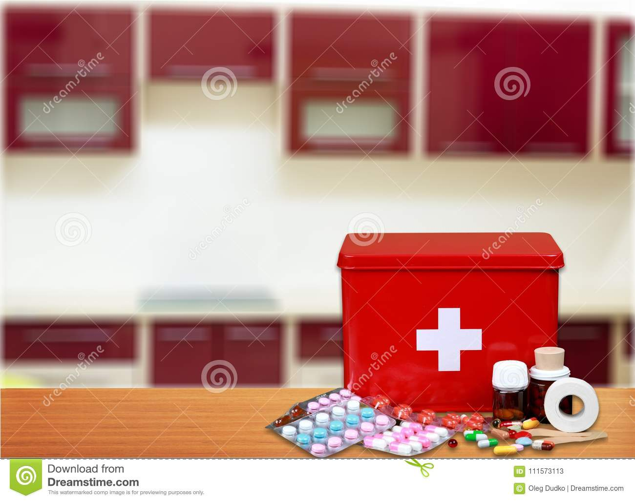 First Aid Kit With Medical Supplies Stock Image - Image of ...