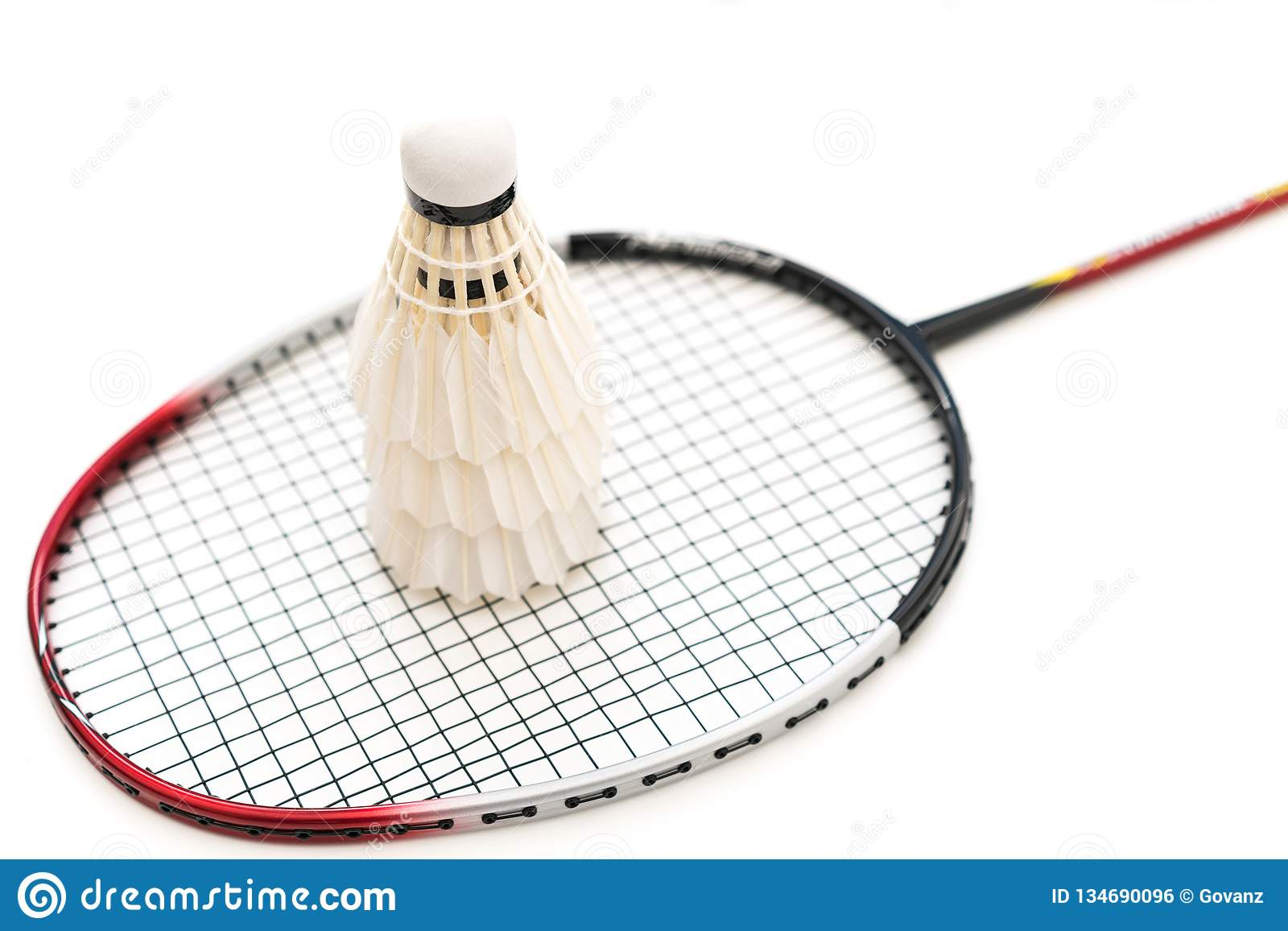 White background image of badminton and racket