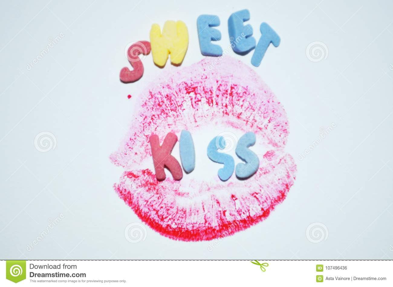 Sweet Kiss Romantic Message Stock Photo Image Of Adorable