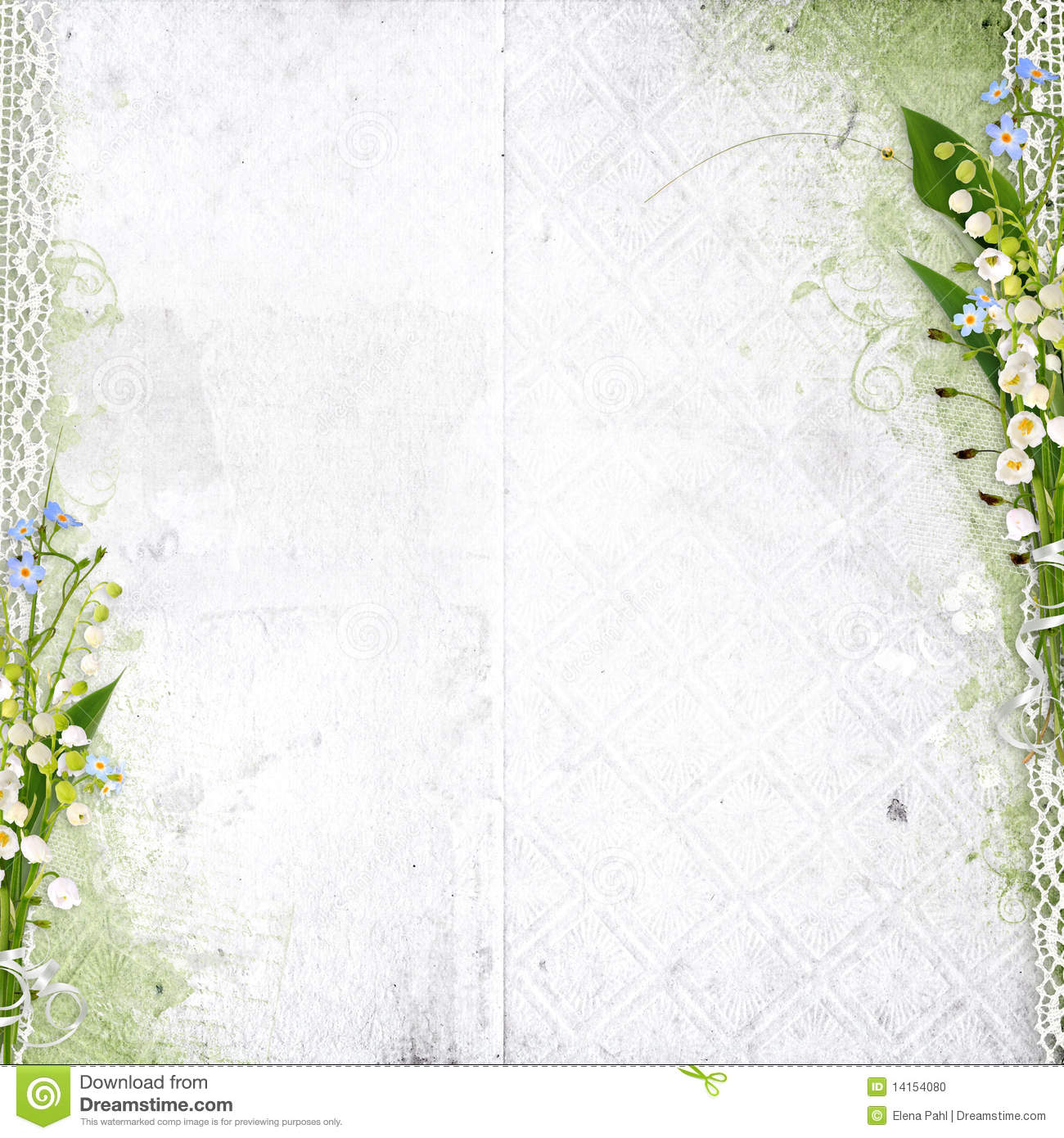 White Background With Lily Of The Valley Stock Photo - Image: 14154080