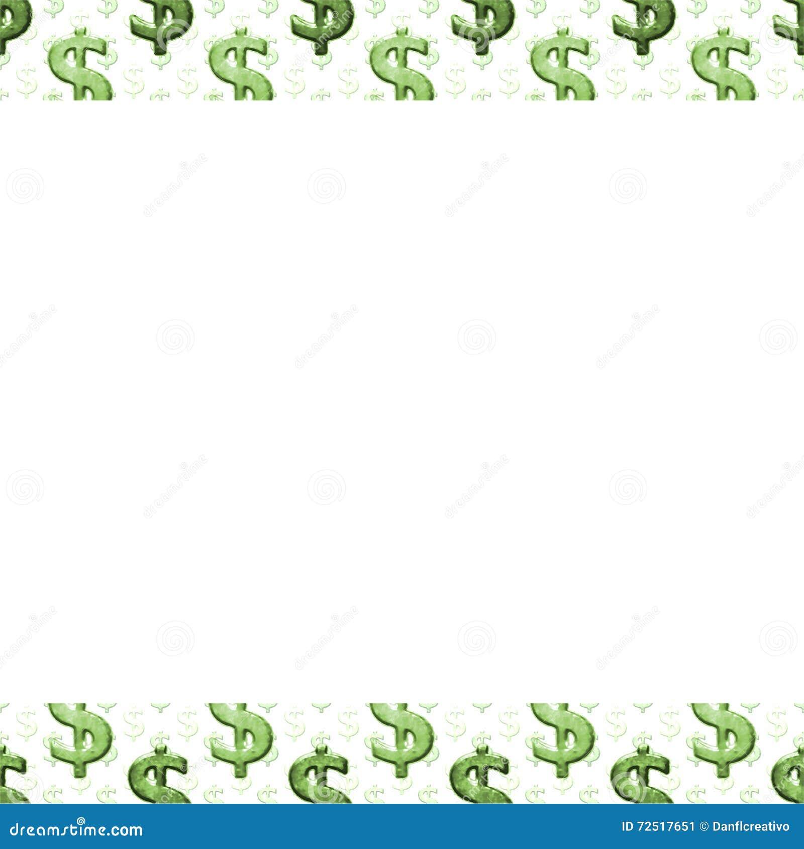 White Background With Money Pattern Borders Stock Illustration - Image ...