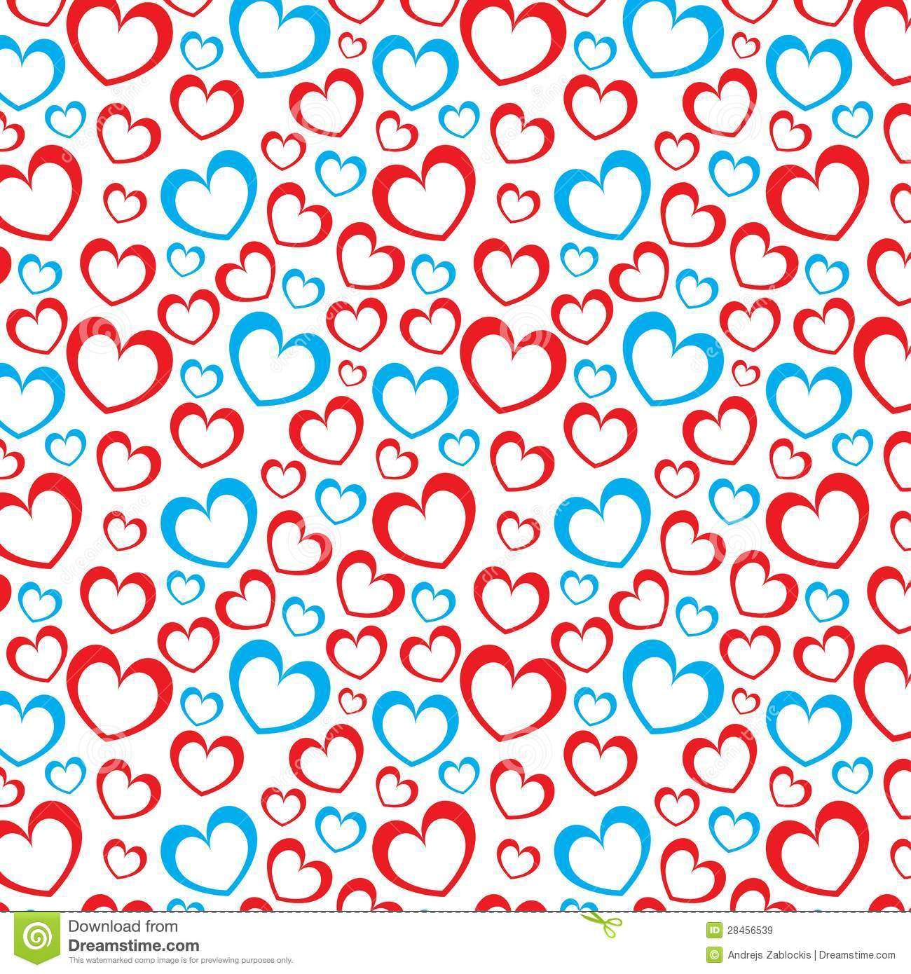 White Background With Red And Blue Hearts Stock Vector