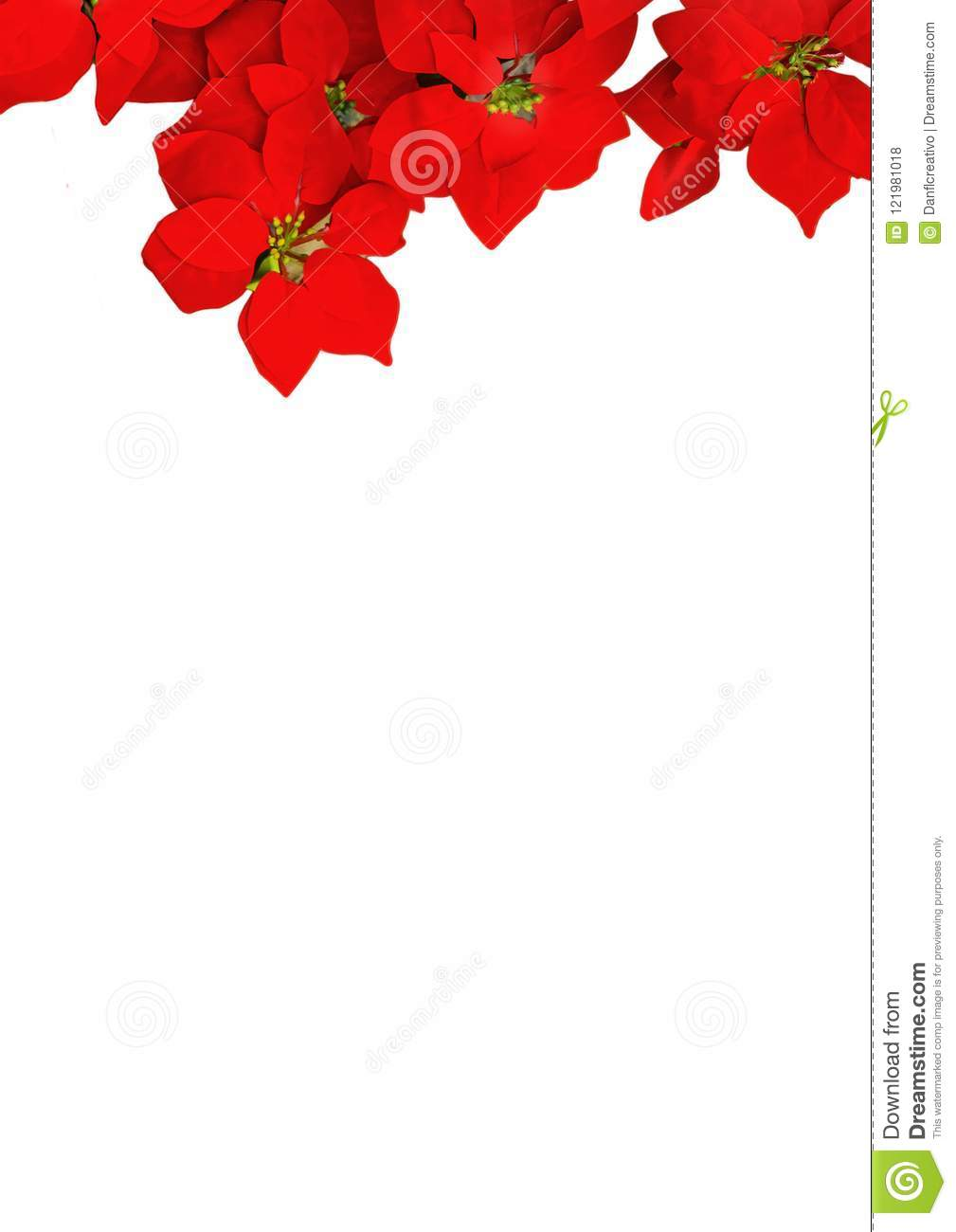 White Background With Red Flower Decoration Stock Photo