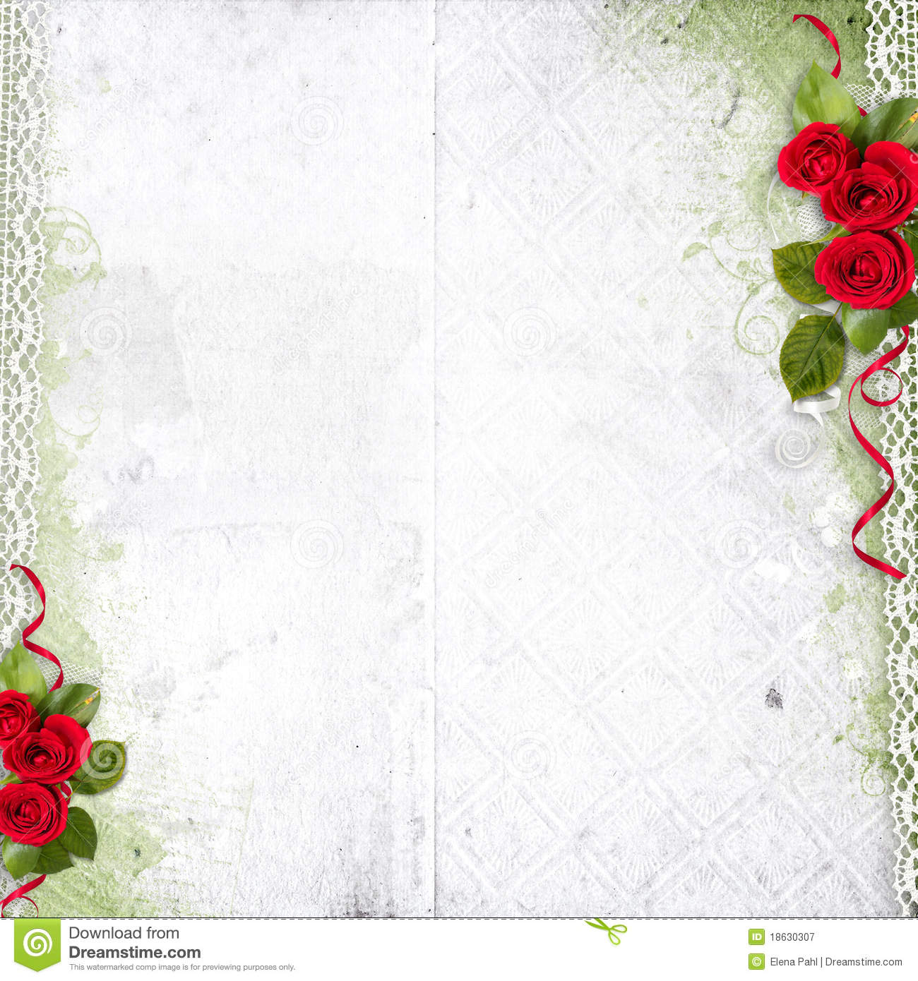 Black Flower Rose From Lace On White Background: White Background With Red Roses And Lace Royalty Free