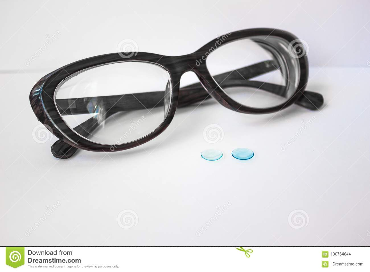 2706460d4a1 Rigid Contact Lenses And Glasses. Stock Photo - Image of white ...