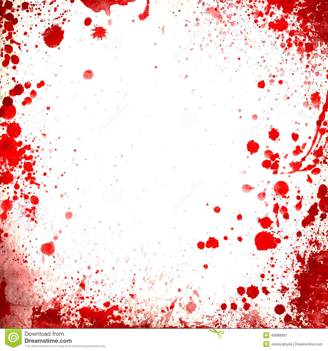 White Background Whit Red Blood Splatters Borders Stock