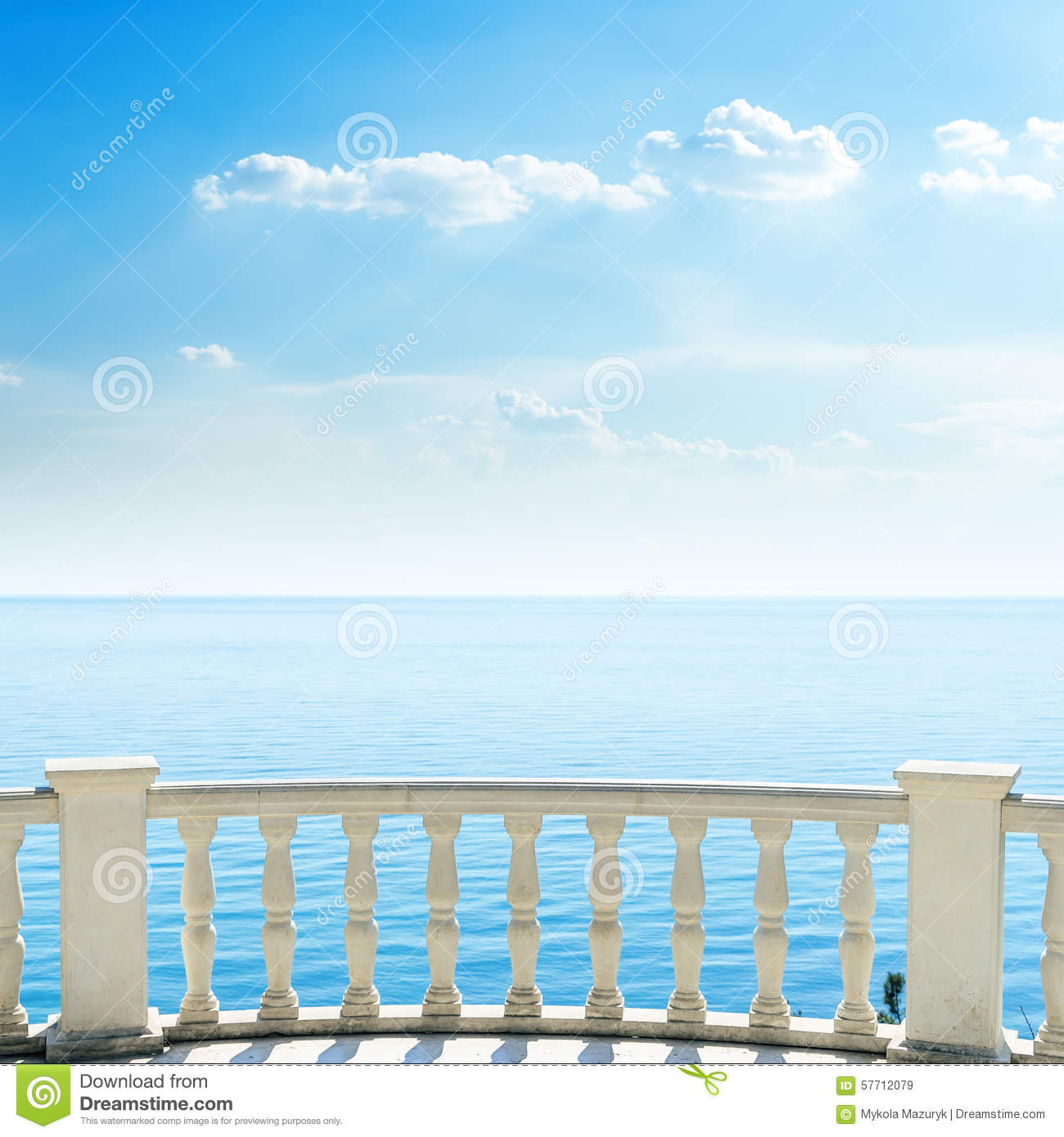 White balcony on sea beach and clouds stock photo image for At the balcony