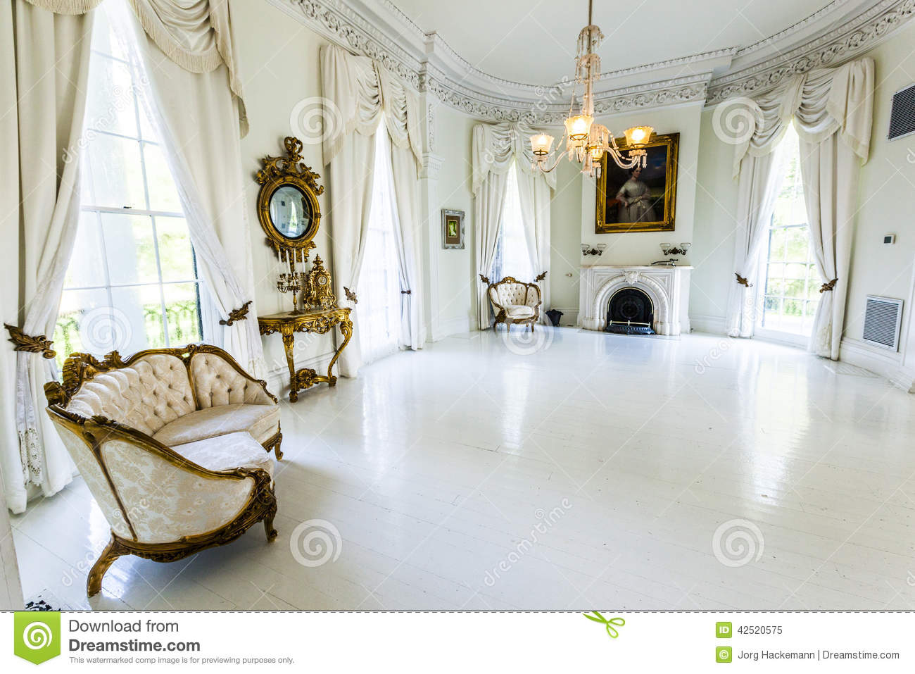 White Ballroom In The Nottoway Plantation House Editorial