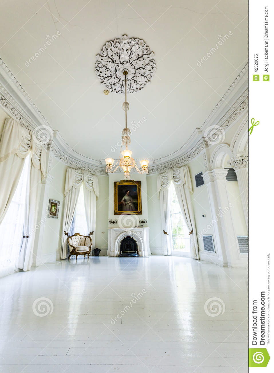 white ballroom in the nottoway plantation house editorial image