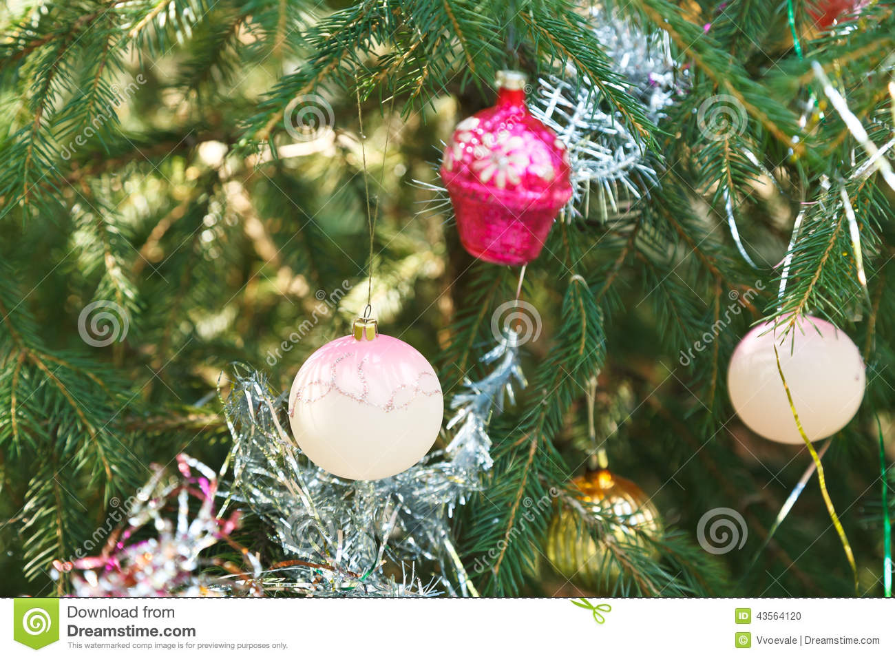 white balls and pink house christmas decoration stock photo