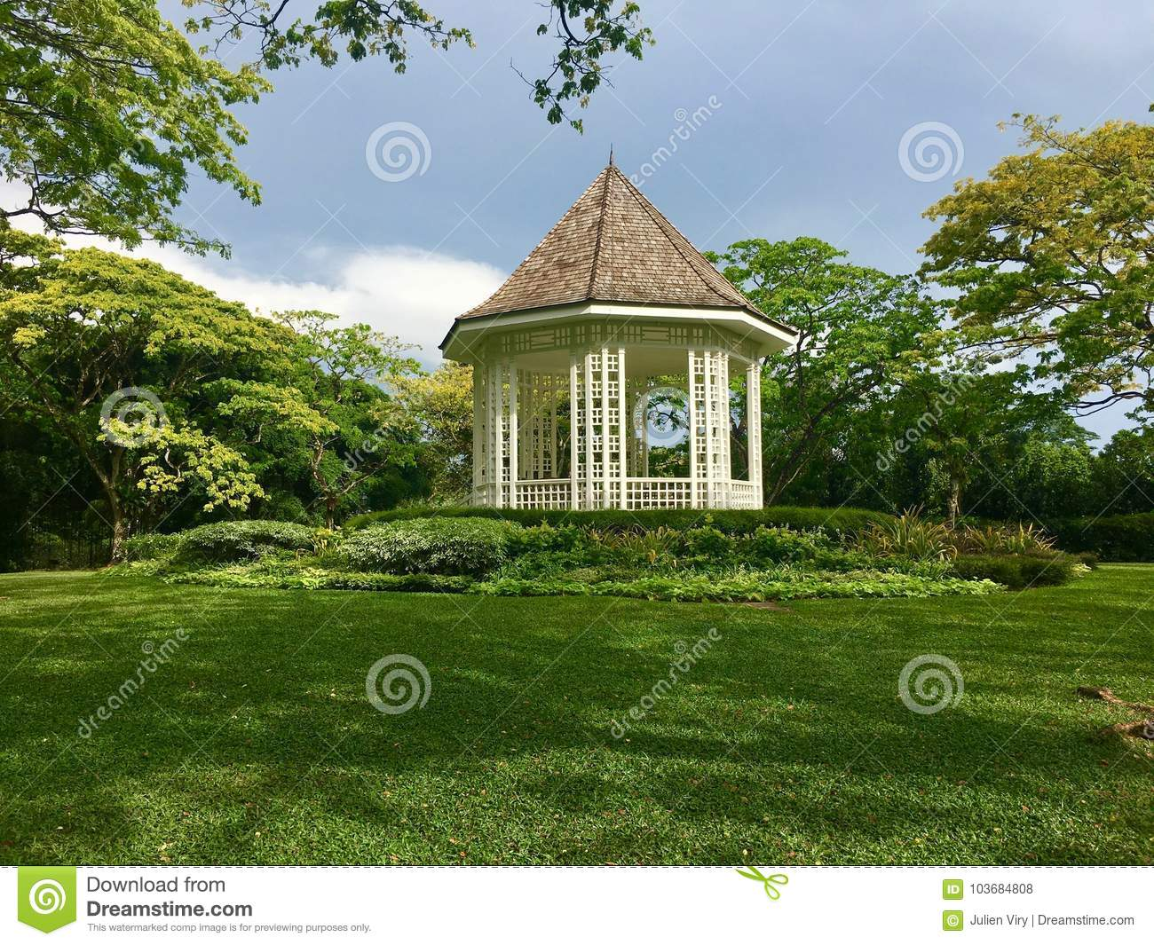 White Bandstand or Gazebo at the Botanic Gardens Singapore