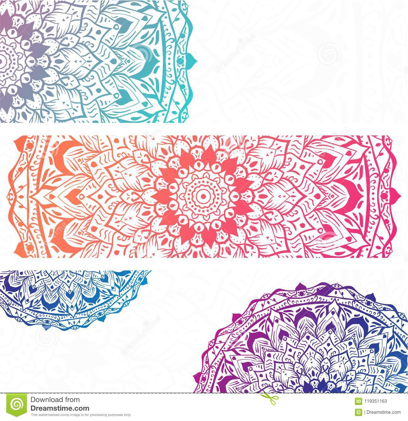 White banners with colorful mandalas.