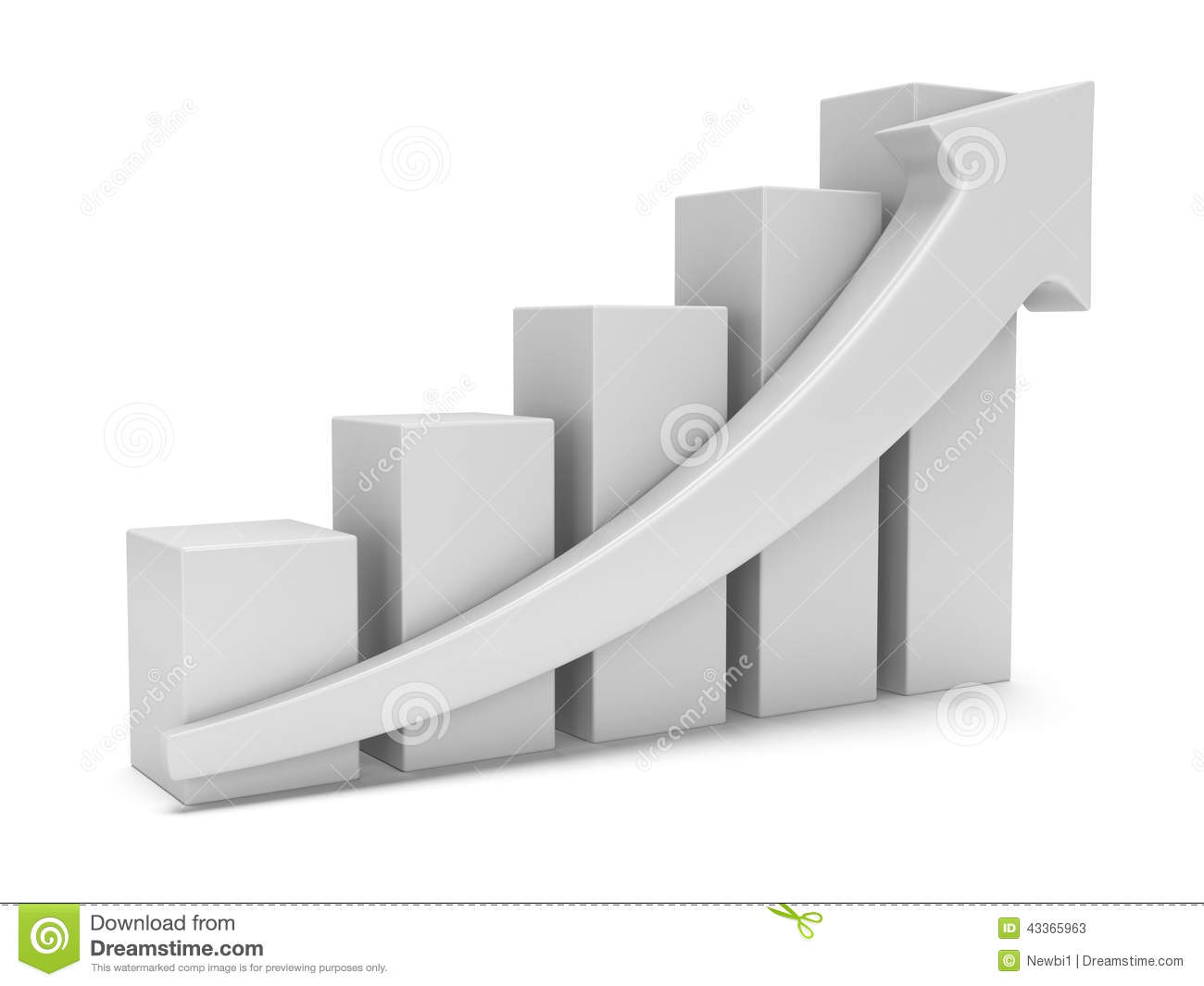 White Bar Graph With Red Arrow Stock Illustration - Image: 43365963