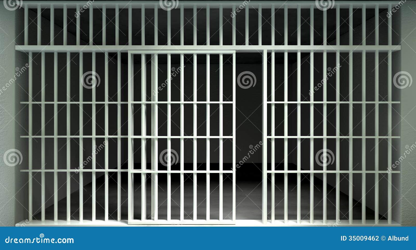 White Bar Jail Cell Front Locked Stock Illustration