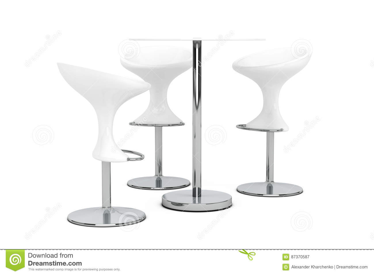 Image of: White Bar Modern Stools With Table 3d Rendering Stock Illustration Illustration Of Icon Comfort 87370587