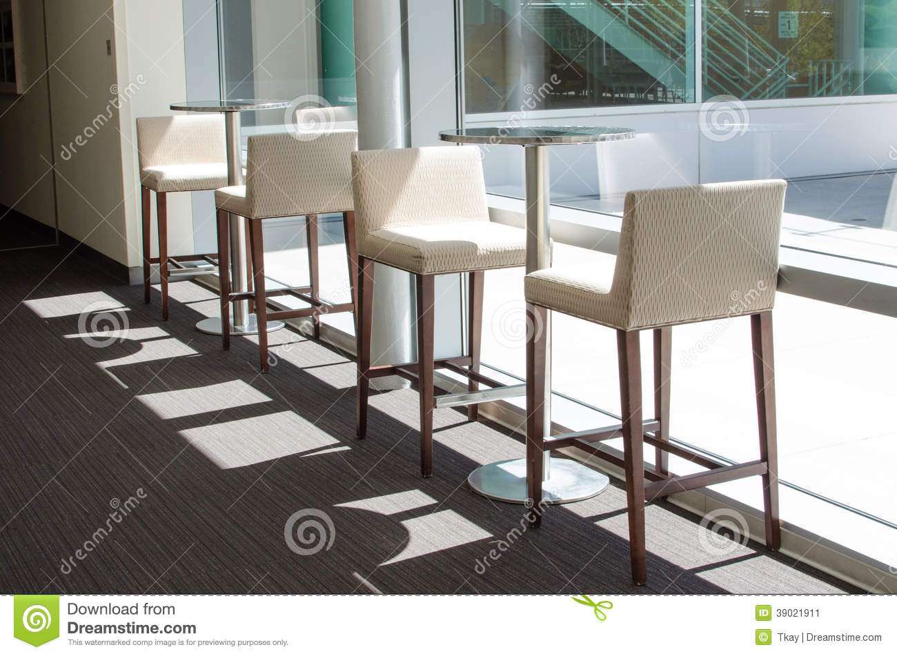 White Bar Stools And Tables Stock Photo Image 39021911