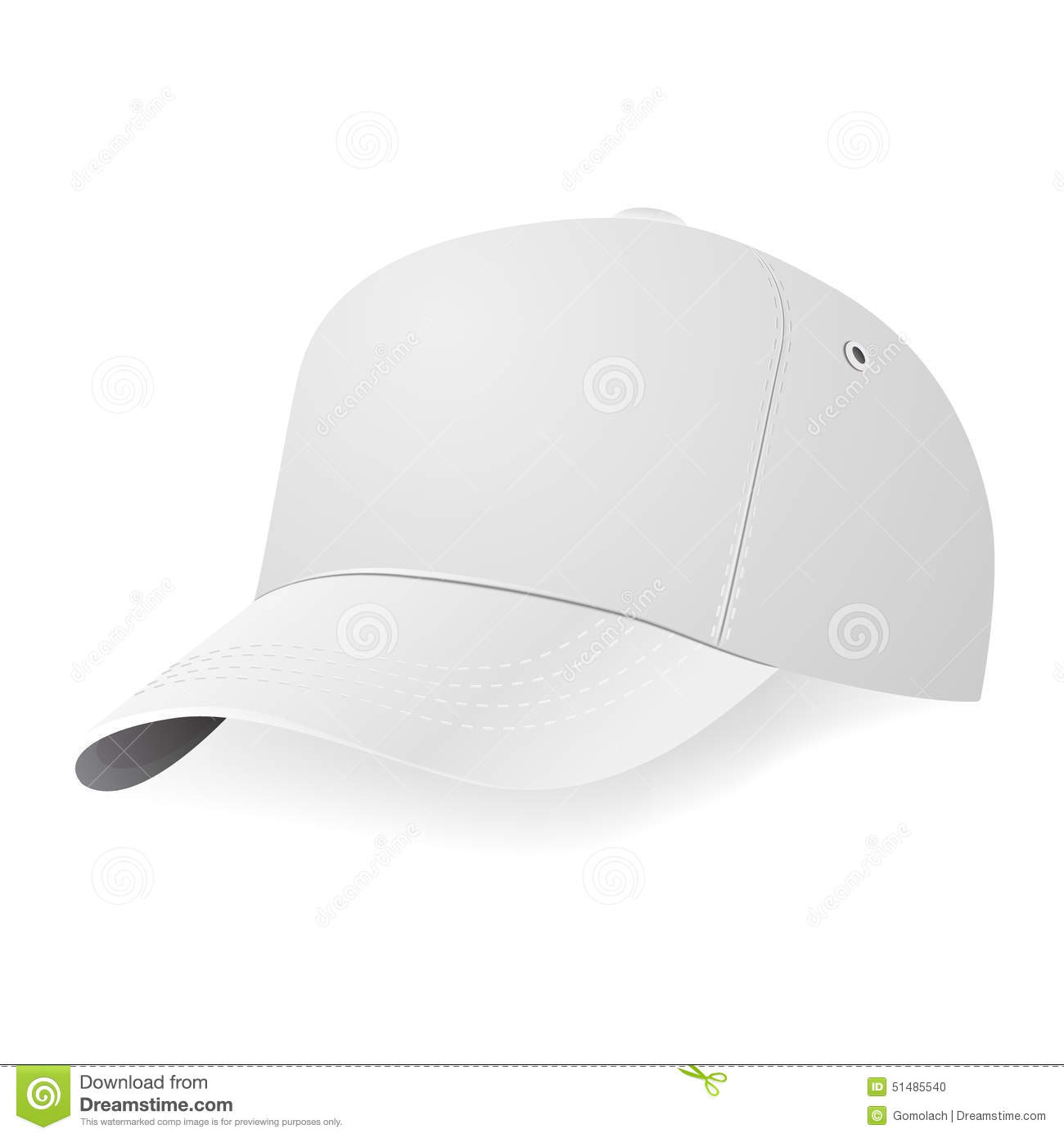 white baseball cap template stock vector illustration of design