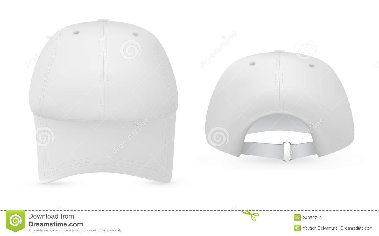 white baseball hat template stock vector illustration of front
