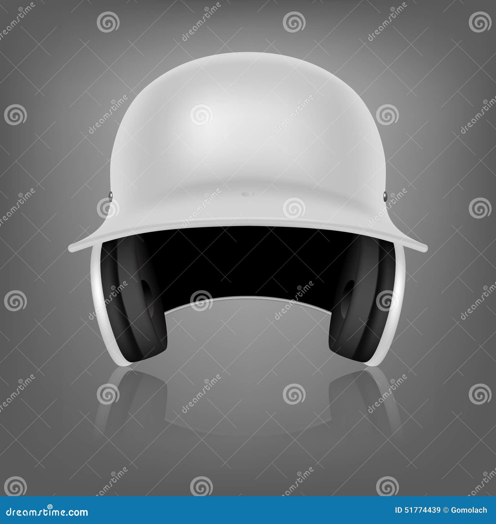 White Baseball Helmet Vector Background Stock Vector