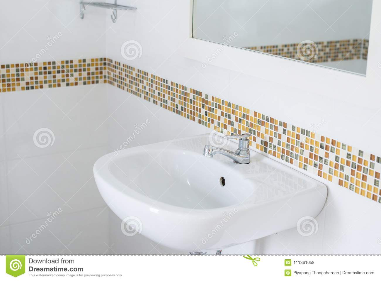 white basin in the bathroom wash bowl in lavatory or toilet stock