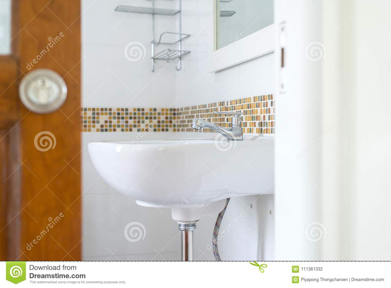 White Basin In The Bathroom, Wash Bowl In Lavatory Or Toilet Stock ...