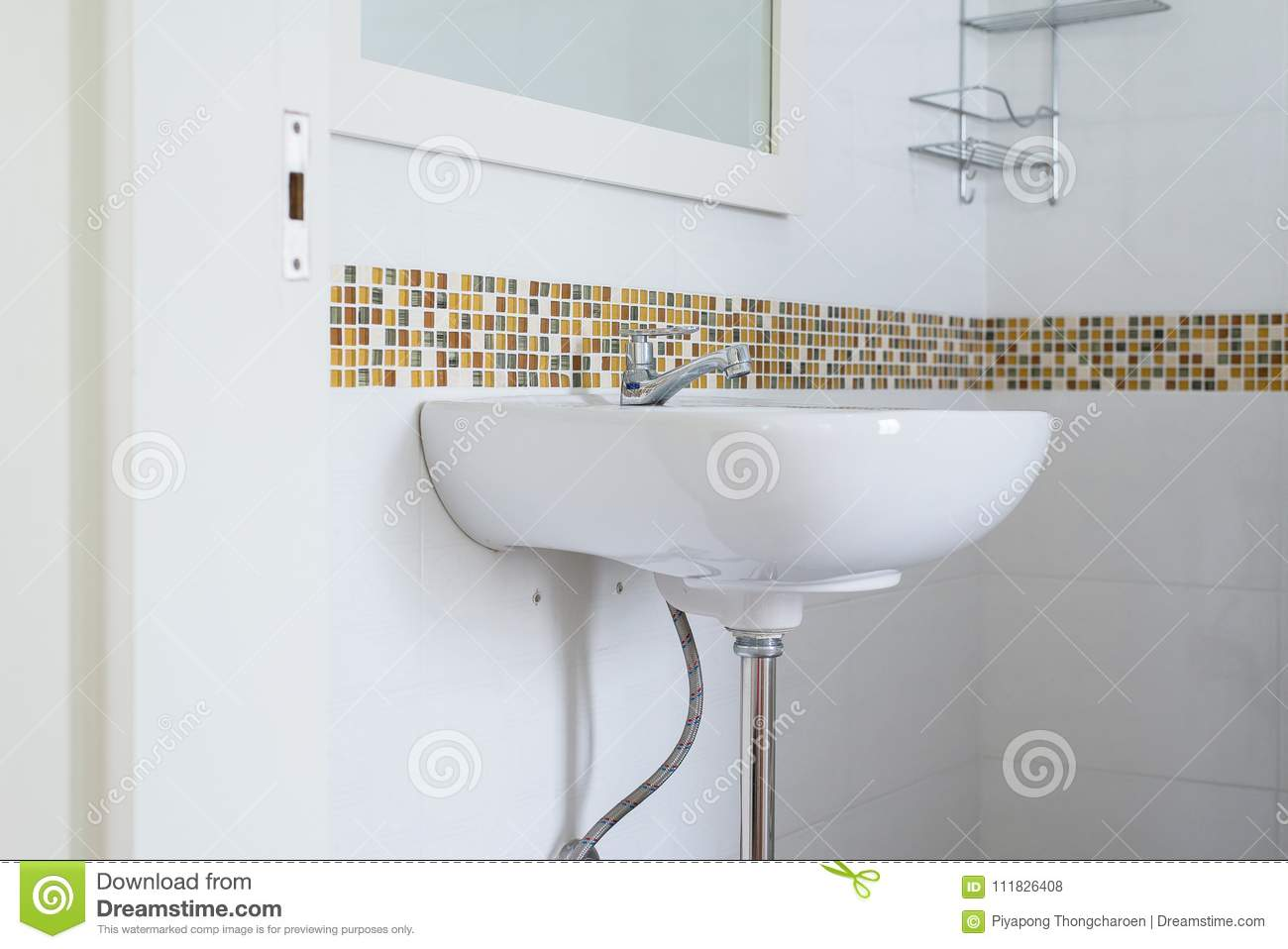 White Basin In The Bathroom,wash Bowl In Lavatory Or Toilet Stock ...