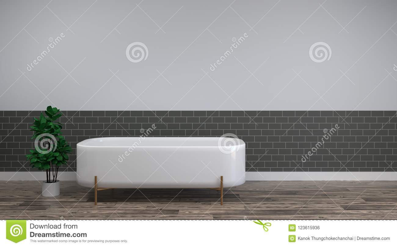White bath is on the clean wood floor empty room interior background home designs ,3drendering Home improvement sanitary ware