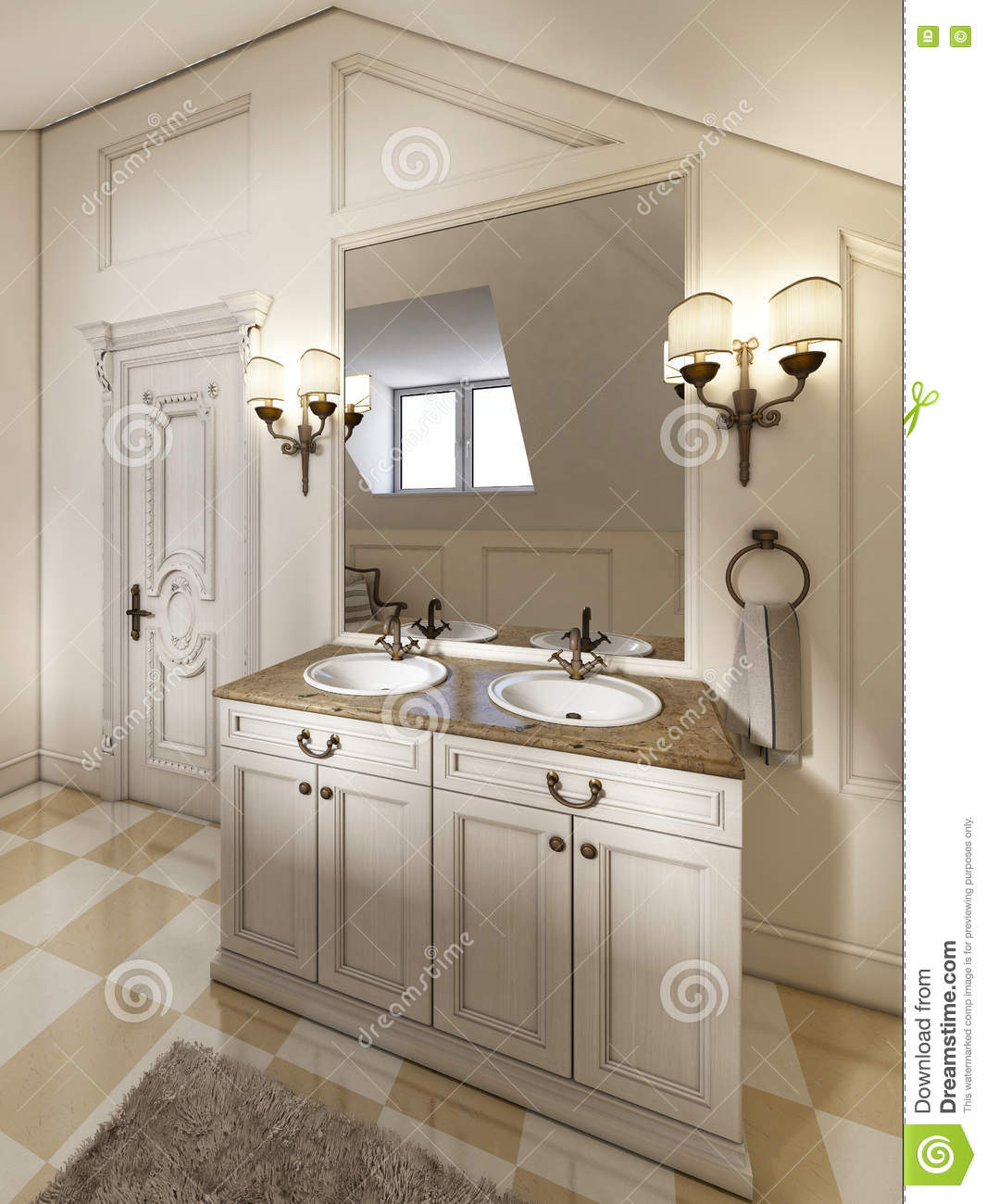 White bath sink with large mirror and sconces on the sides of th stock illustration for Pictures of bathrooms with double sinks