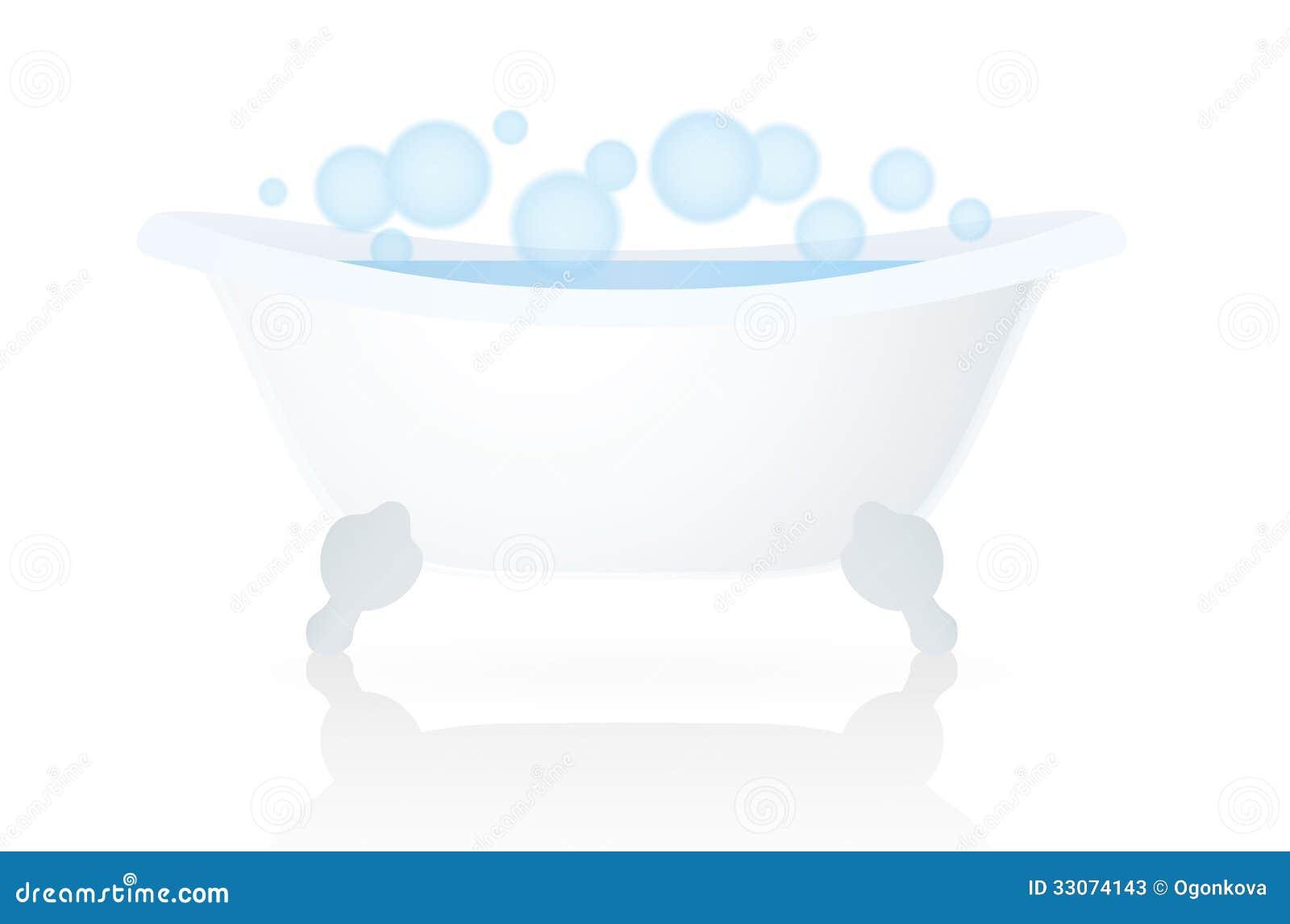 White Bath (tub, Bathtub) With Bubbles Stock Vector - Illustration ...