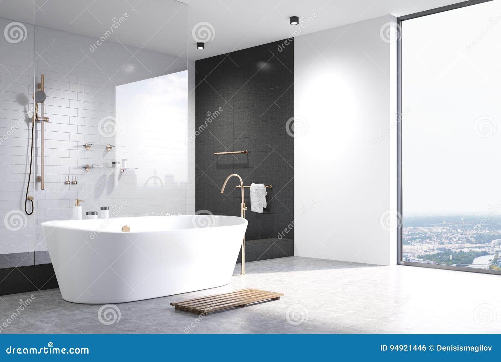White Bathroom With Black Tiles Corner Stock Illustration ...